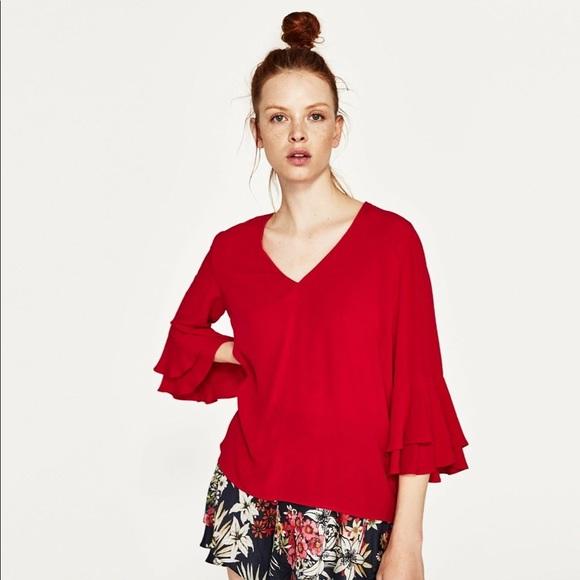 0fe67279b995db Zara Ruffle Bell Sleeve Blouse SZ SMALL. M_5bb13aea03087c127729f78e
